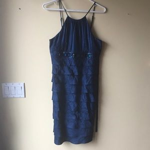 ADRIANNA PAPELL blue crystal dress size 6